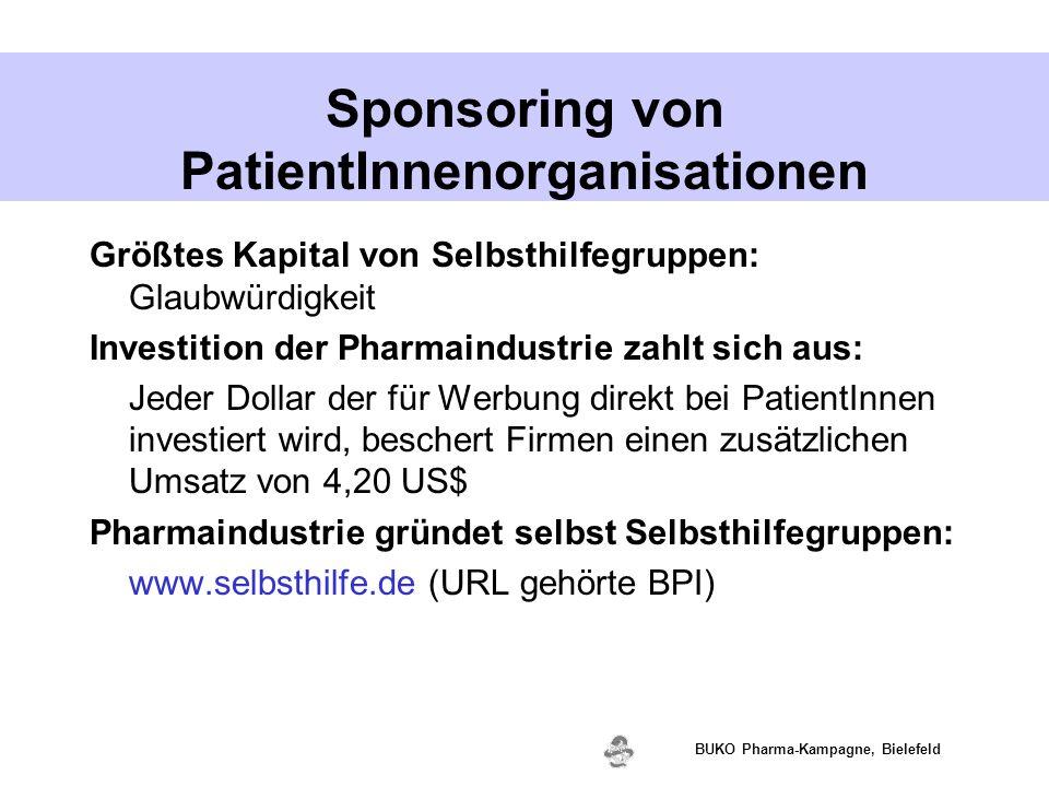 www.valette.de BUKO Pharma-Kampagne, Bielefeld Sponsoring von PatientInnenorganisationen Größtes Kapital von Selbsthilfegruppen: Glaubwürdigkeit Inves