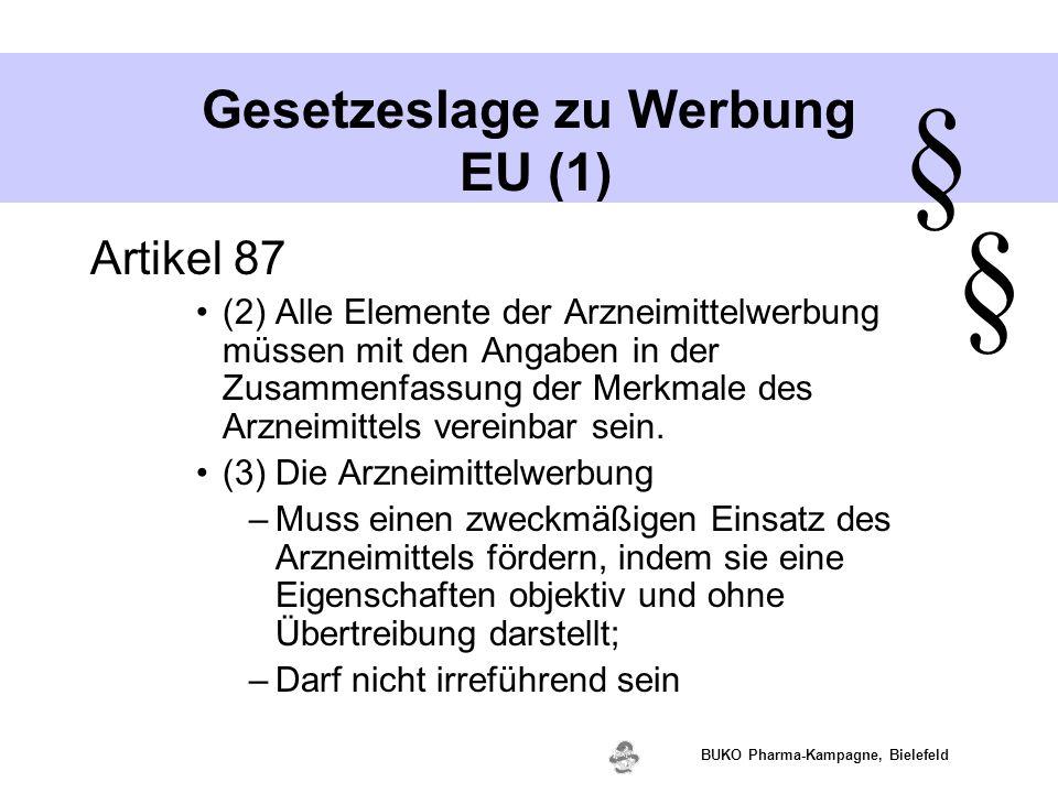 www.valette.de BUKO Pharma-Kampagne, Bielefeld Gesetzeslage zu Werbung EU (1) Artikel 87 (2) Alle Elemente der Arzneimittelwerbung müssen mit den Anga