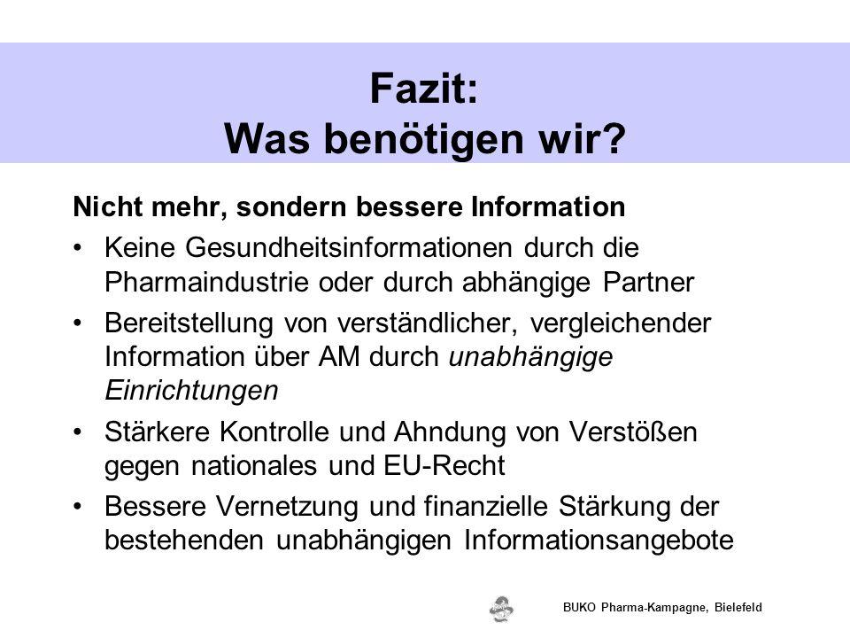 www.valette.de BUKO Pharma-Kampagne, Bielefeld Fazit: Was benötigen wir? Nicht mehr, sondern bessere Information Keine Gesundheitsinformationen durch