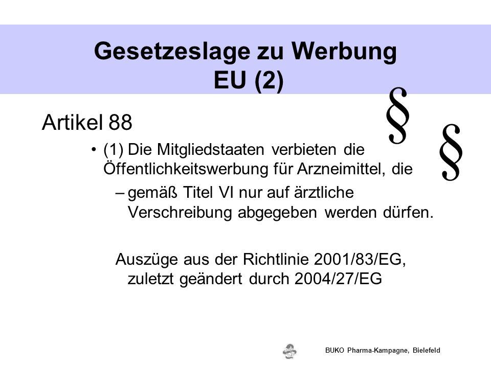 www.valette.de BUKO Pharma-Kampagne, Bielefeld Gesetzeslage zu Werbung EU (2) Artikel 88 (1) Die Mitgliedstaaten verbieten die Öffentlichkeitswerbung