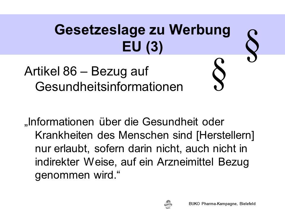 """www.valette.de BUKO Pharma-Kampagne, Bielefeld Gesetzeslage zu Werbung EU (3) Artikel 86 – Bezug auf Gesundheitsinformationen """"Informationen über die"""