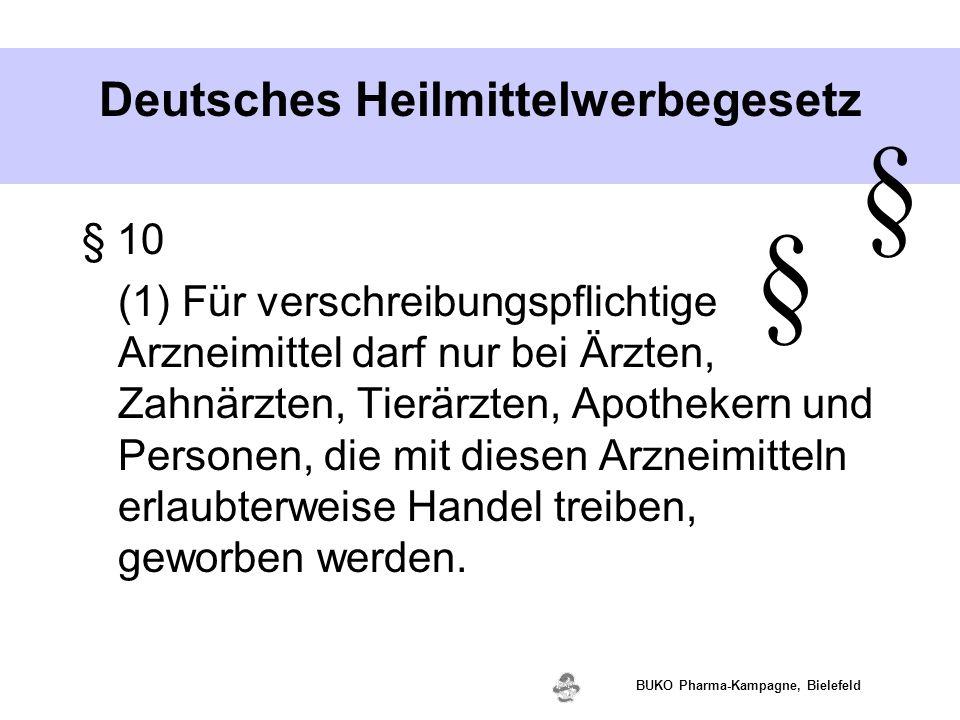 www.valette.de BUKO Pharma-Kampagne, Bielefeld Deutsches Heilmittelwerbegesetz § 10 (1) Für verschreibungspflichtige Arzneimittel darf nur bei Ärzten,