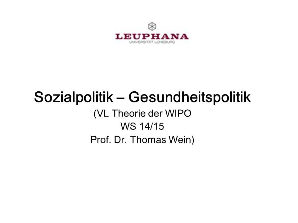 Sozialpolitik – Gesundheitspolitik (VL Theorie der WIPO WS 14/15 Prof. Dr. Thomas Wein)