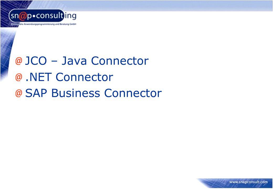 JCO – Java Connector.NET Connector SAP Business Connector