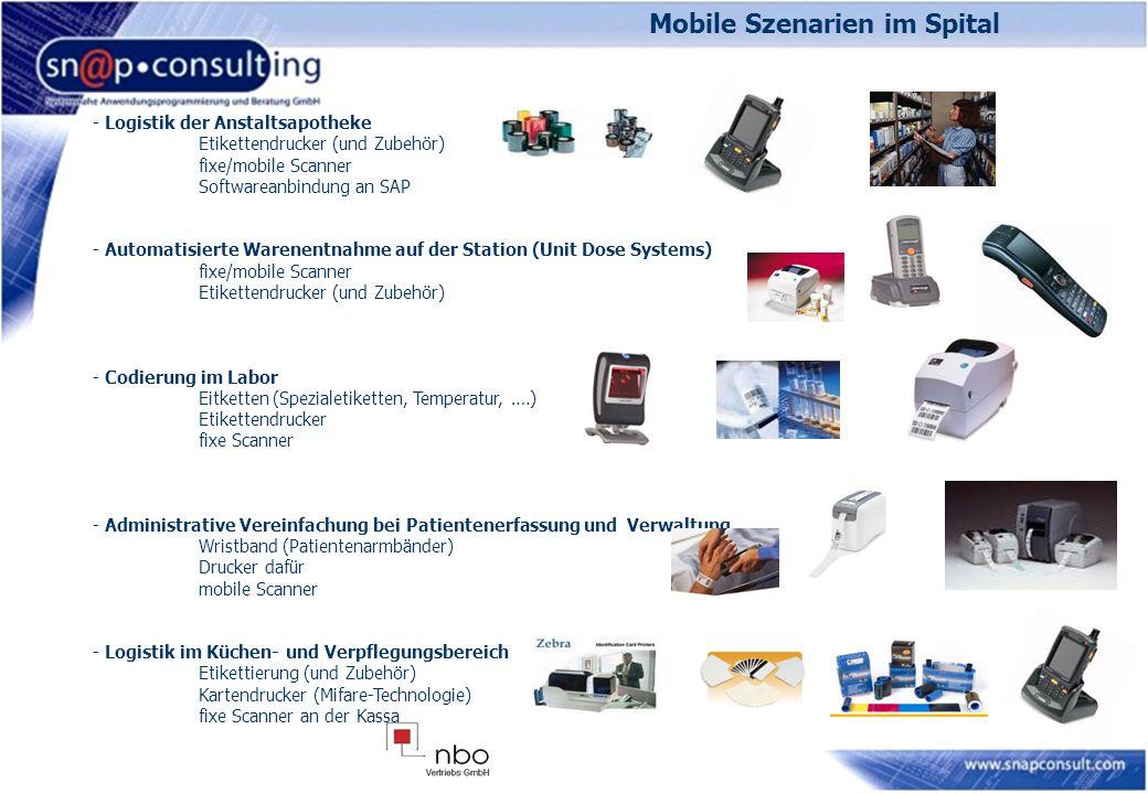 Mobile Szenarien im Spital - Logistik der Anstaltsapotheke Etikettendrucker (und Zubehör) fixe/mobile Scanner Softwareanbindung an SAP - Automatisiert