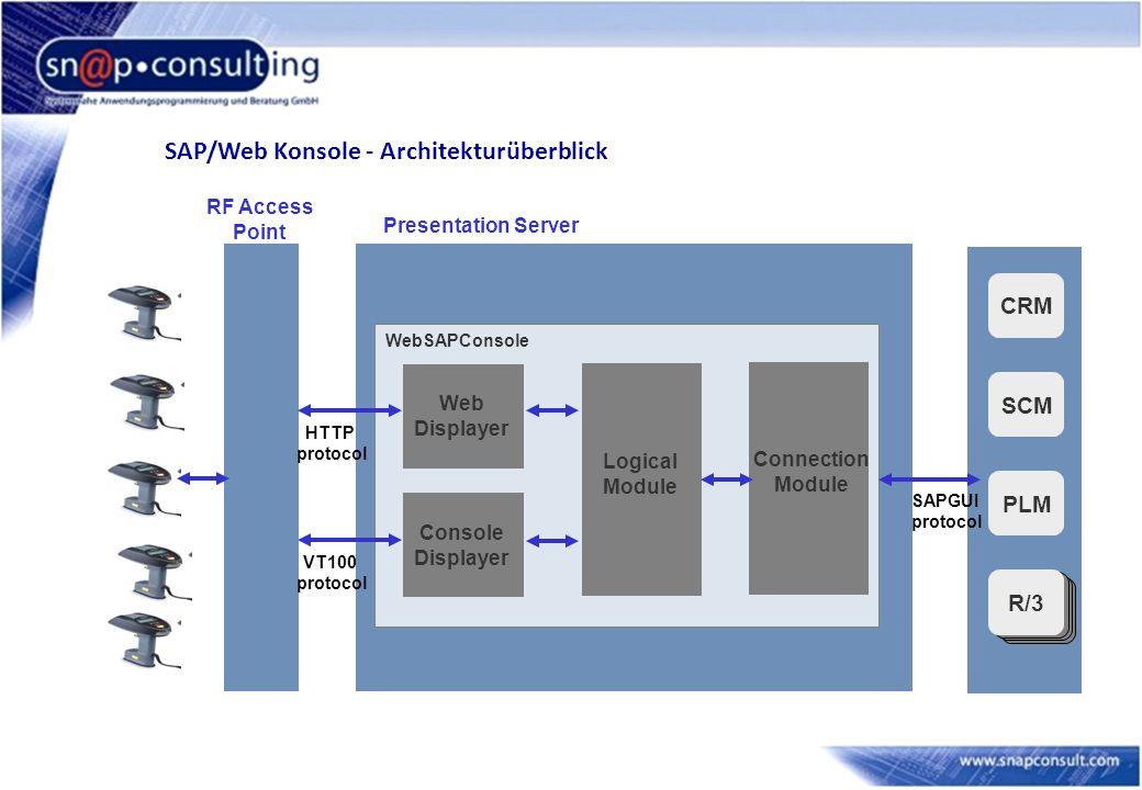 SAP/Web Konsole - Architekturüberblick Presentation Server CRM SCM PLM R/3 Connection Module Logical Module WebSAPConsole Console Displayer VT100 protocol RF Access Point SAPGUI protocol Web Displayer HTTP protocol