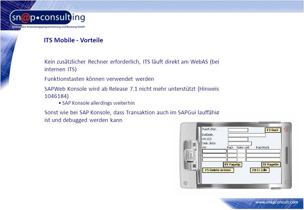 ITS Mobile - Vorteile Kein zusätzlicher Rechner erforderlich, ITS läuft direkt am WebAS (bei internen ITS) Funktionstasten können verwendet werden SAP