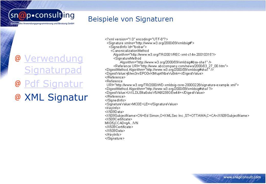 Beispiele von Signaturen Verwendung Signaturpad Pdf Signatur XML Signatur