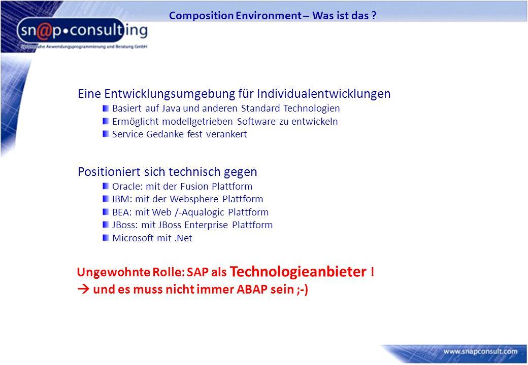 Composition Environment – Was ist das ? Eine Entwicklungsumgebung für Individualentwicklungen Basiert auf Java und anderen Standard Technologien Ermög