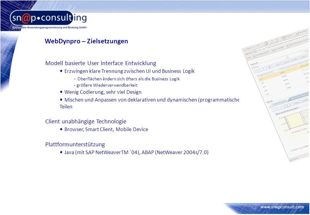 WebDynpro – Zielsetzungen Modell basierte User Interface Entwicklung Erzwingen klare Trennung zwischen UI und Business Logik - Oberflächen ändern sich