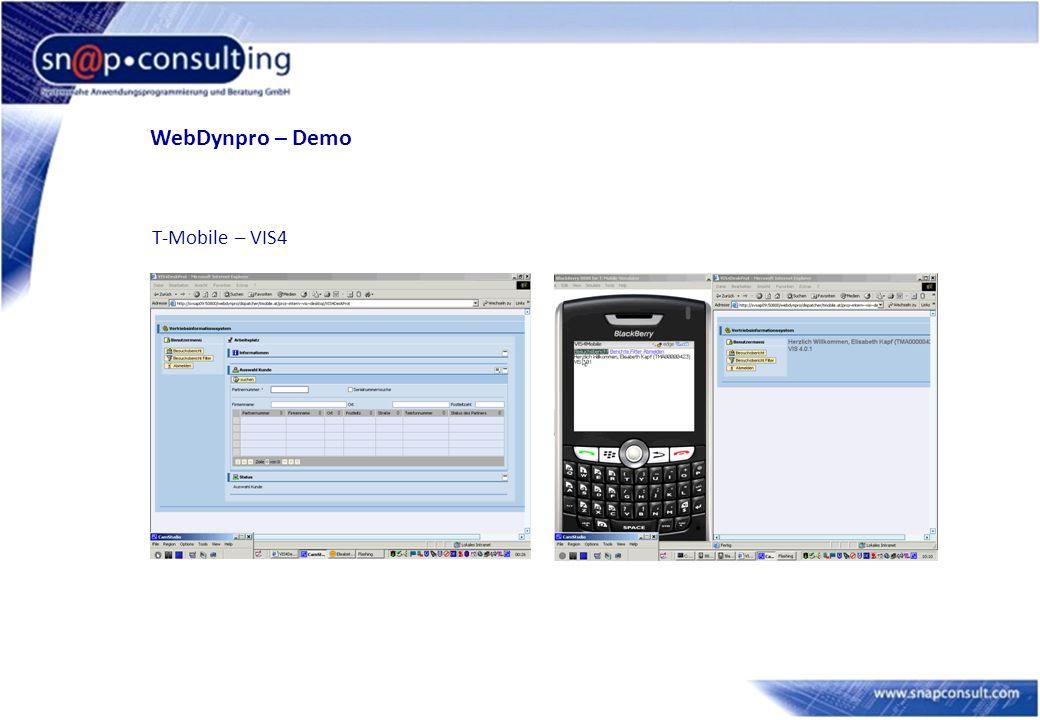WebDynpro – Demo T-Mobile – VIS4