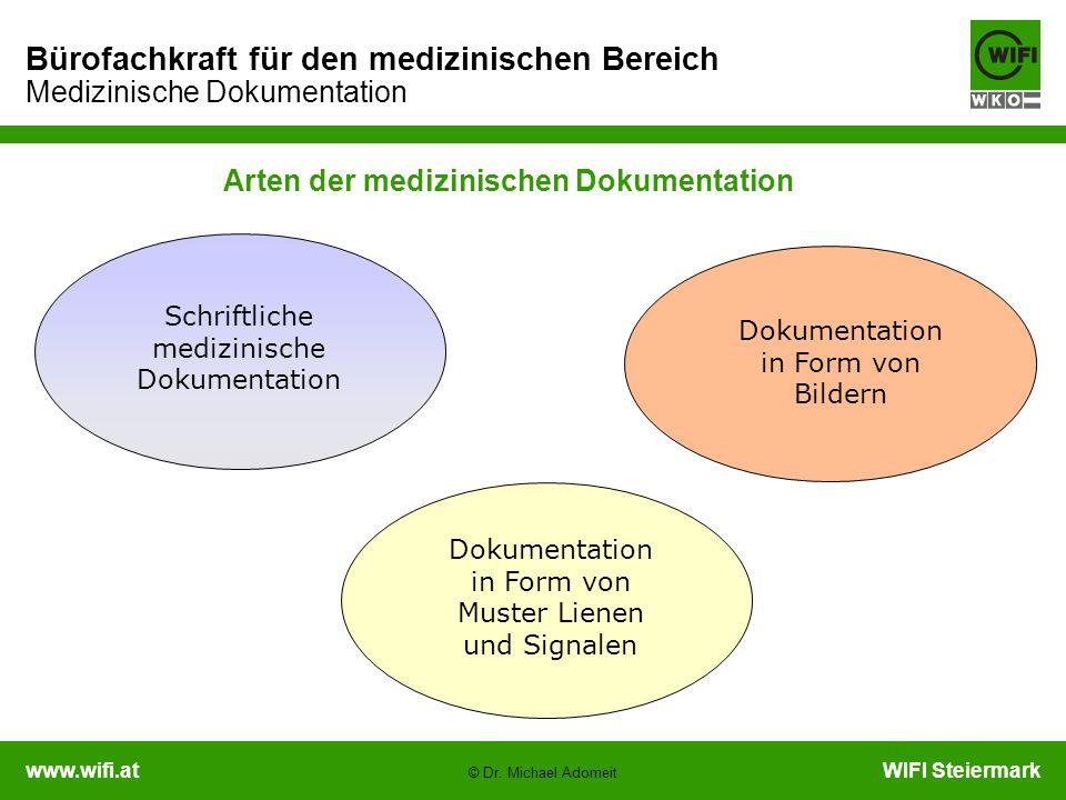 www.wifi.atWIFI Steiermark Bürofachkraft für den medizinischen Bereich Medizinische Dokumentation © Dr. Michael Adomeit Arten der medizinischen Dokume