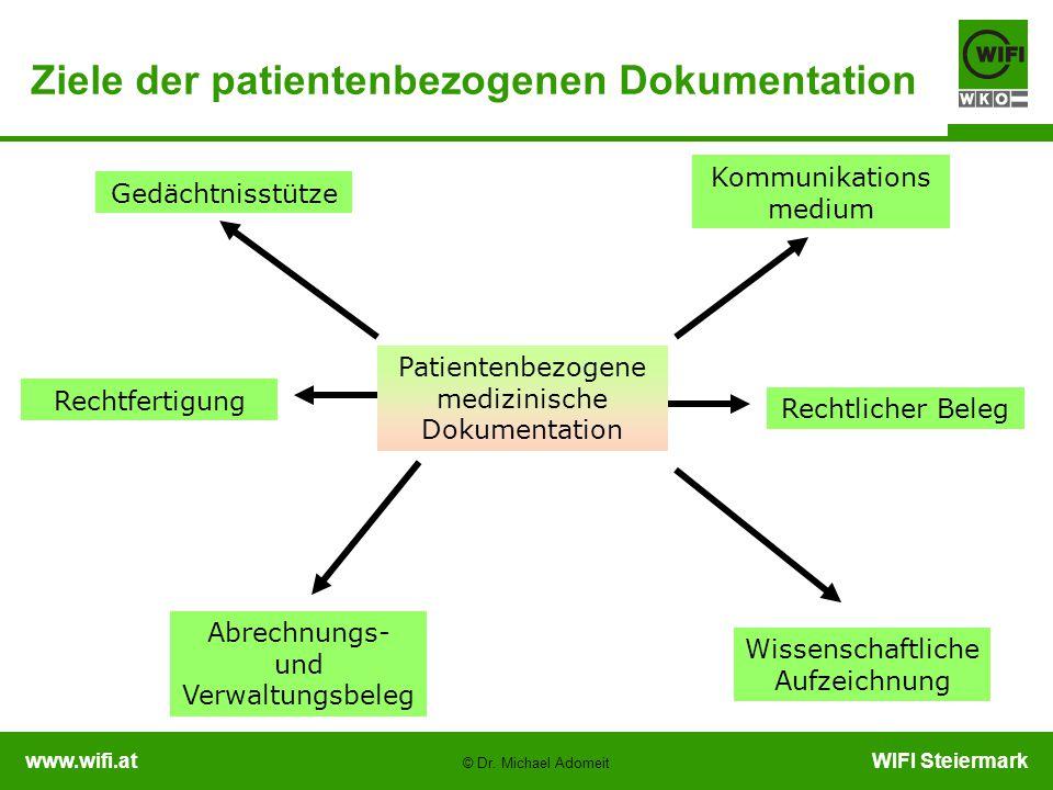 www.wifi.atWIFI Steiermark Bürofachkraft für den medizinischen Bereich Medizinische Dokumentation © Dr. Michael Adomeit Ziele der patientenbezogenen D