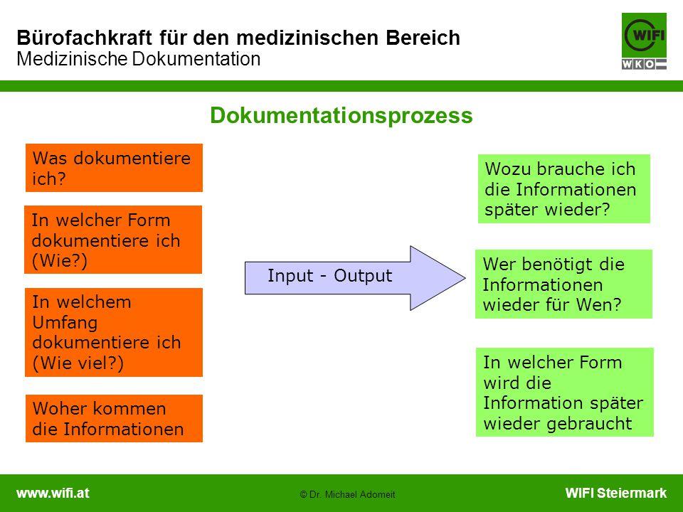 www.wifi.atWIFI Steiermark Bürofachkraft für den medizinischen Bereich Medizinische Dokumentation © Dr. Michael Adomeit Was dokumentiere ich? In welch