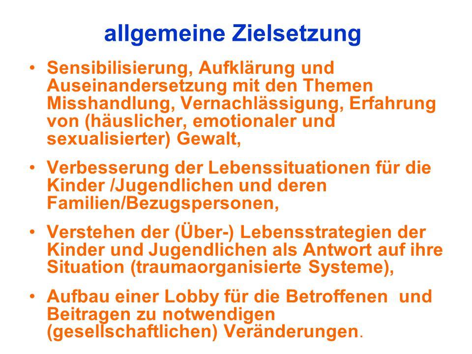 allgemeine Zielsetzung Sensibilisierung, Aufklärung und Auseinandersetzung mit den Themen Misshandlung, Vernachlässigung, Erfahrung von (häuslicher, e