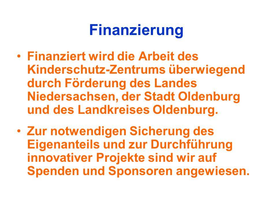 Finanzierung Finanziert wird die Arbeit des Kinderschutz-Zentrums überwiegend durch Förderung des Landes Niedersachsen, der Stadt Oldenburg und des La