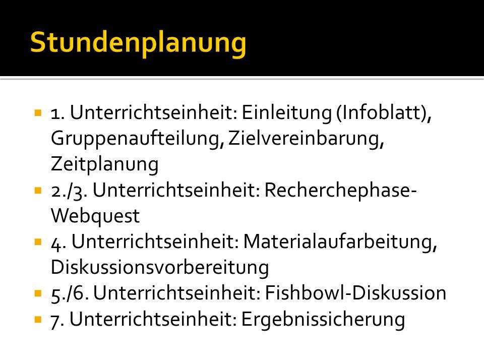  1. Unterrichtseinheit: Einleitung (Infoblatt), Gruppenaufteilung, Zielvereinbarung, Zeitplanung  2./3. Unterrichtseinheit: Recherchephase- Webquest