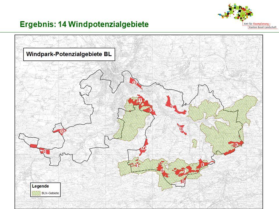 11 Ergebnis: 14 Windpotenzialgebiete