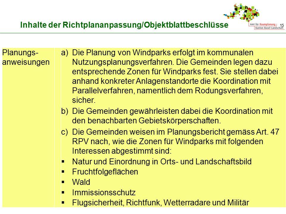 15 Inhalte der Richtplananpassung/Objektblattbeschlüsse Planungs- anweisungen a)Die Planung von Windparks erfolgt im kommunalen Nutzungsplanungsverfah