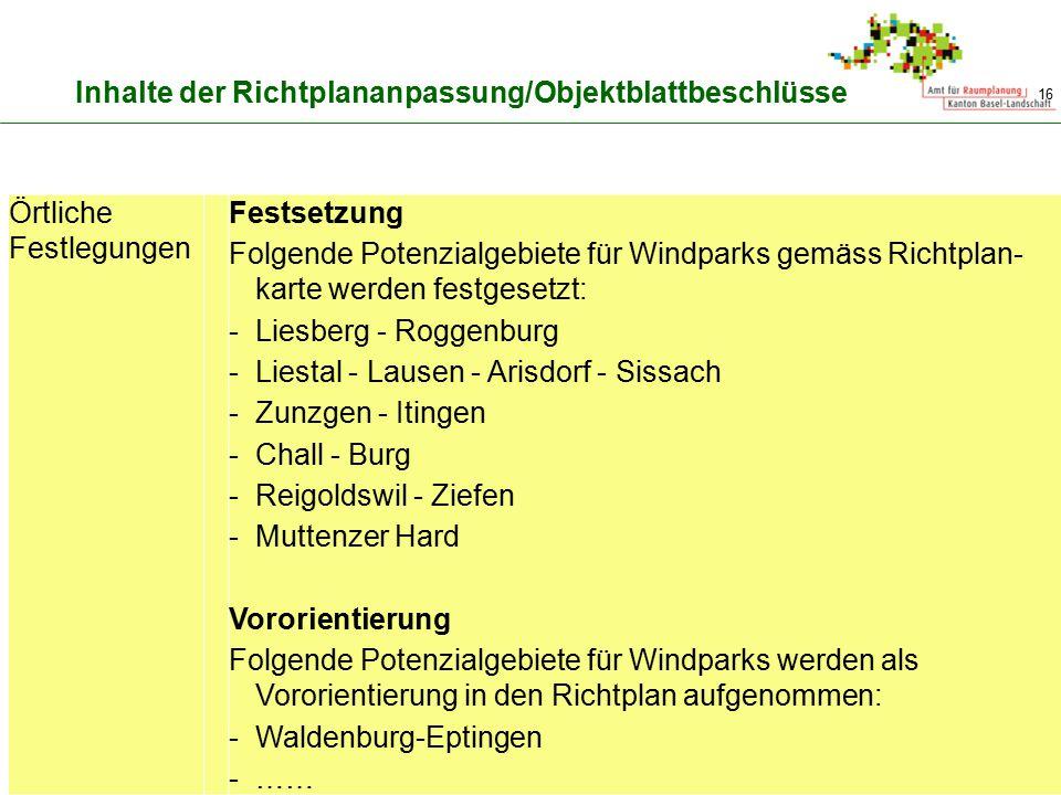 16 Inhalte der Richtplananpassung/Objektblattbeschlüsse Örtliche Festlegungen Festsetzung Folgende Potenzialgebiete für Windparks gemäss Richtplan- ka