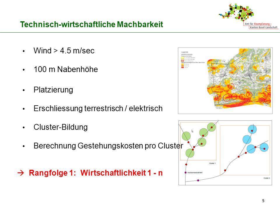 5 Wind > 4.5 m/sec 100 m Nabenhöhe Platzierung Erschliessung terrestrisch / elektrisch Cluster-Bildung Berechnung Gestehungskosten pro Cluster  Rangf