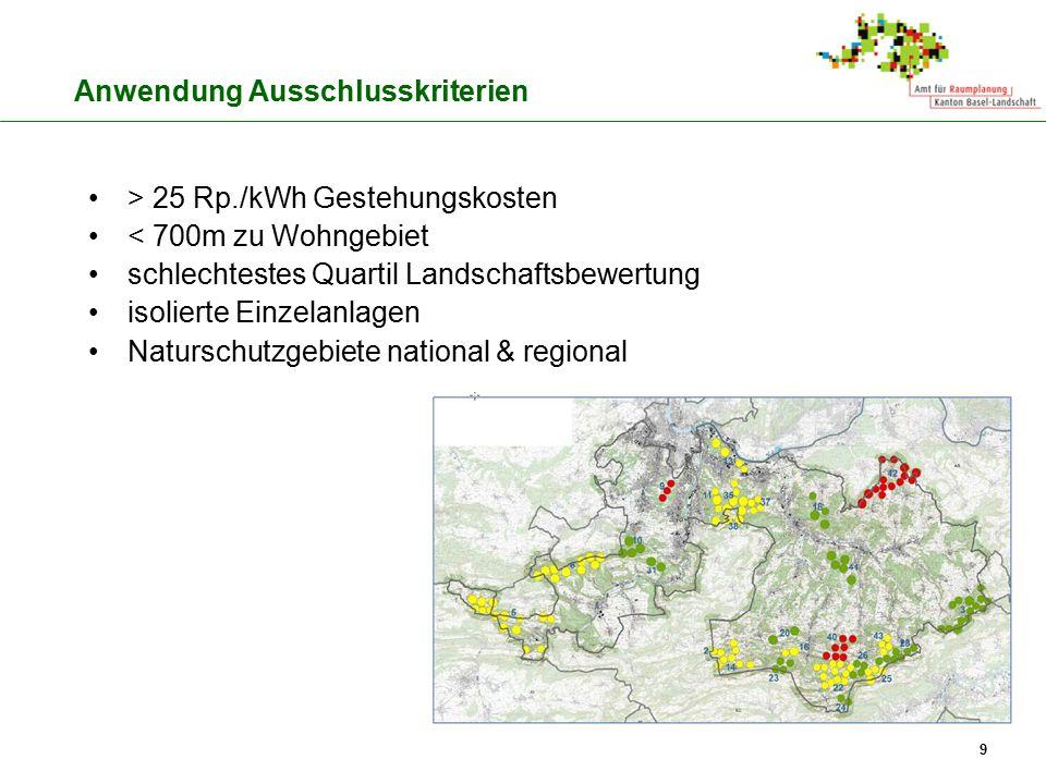 > 25 Rp./kWh Gestehungskosten < 700m zu Wohngebiet schlechtestes Quartil Landschaftsbewertung isolierte Einzelanlagen Naturschutzgebiete national & re