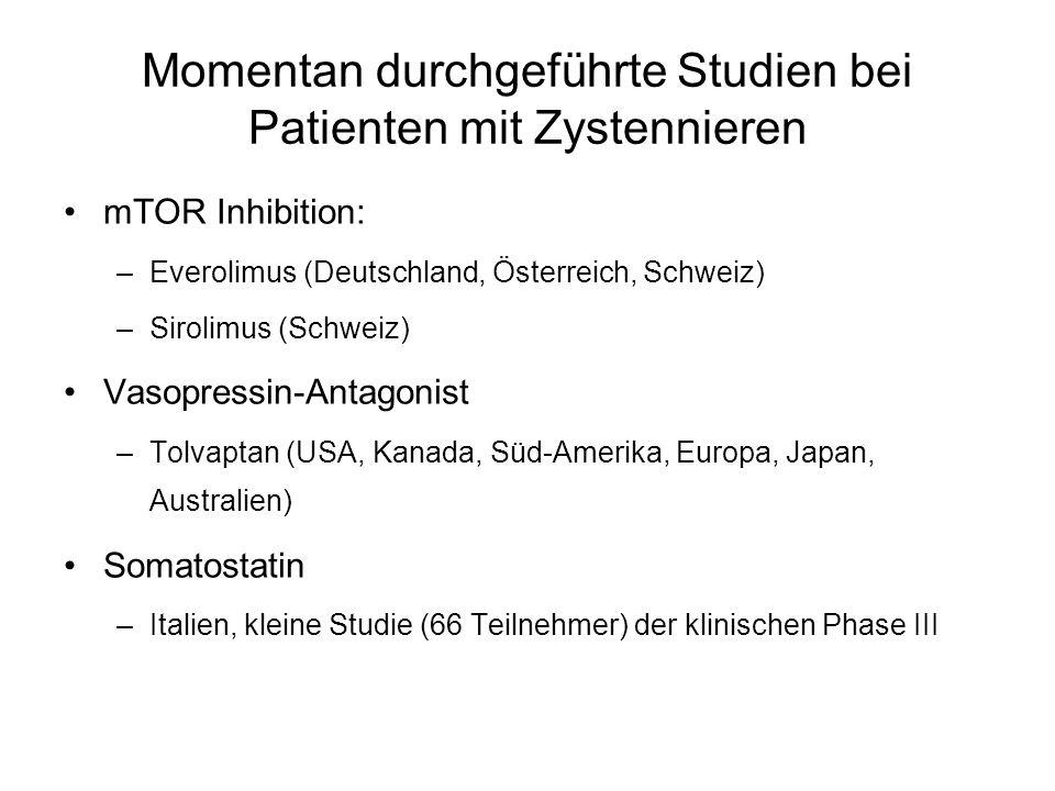Momentan durchgeführte Studien bei Patienten mit Zystennieren mTOR Inhibition: –Everolimus (Deutschland, Österreich, Schweiz) –Sirolimus (Schweiz) Vas