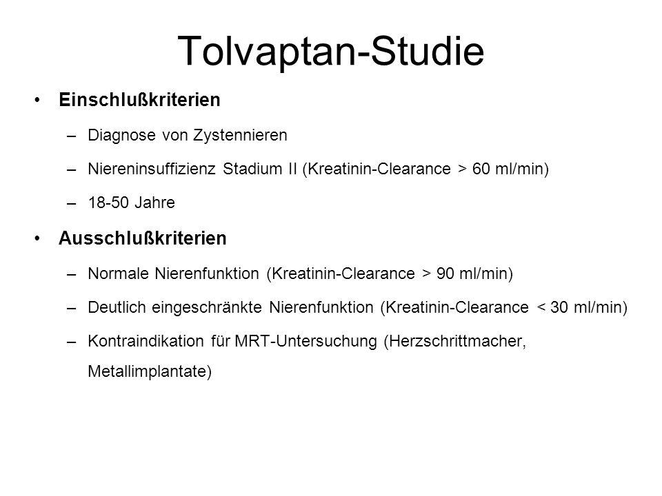 Tolvaptan-Studie Einschlußkriterien –Diagnose von Zystennieren –Niereninsuffizienz Stadium II (Kreatinin-Clearance > 60 ml/min) –18-50 Jahre Ausschluß