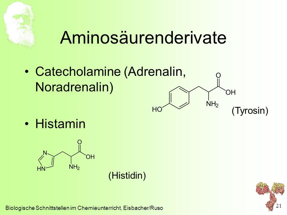 Aminosäurenderivate Catecholamine (Adrenalin, Noradrenalin) Histamin Biologische Schnittstellen im Chemieunterricht, Eisbacher/Ruso 21 (Tyrosin) (Hist