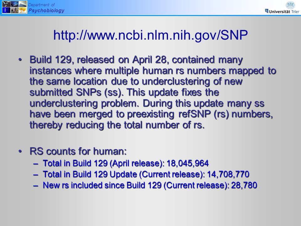 Department of Psychobiology http://www.ncbi.nlm.nih.gov/SNP Build 129, released on April 28, contained many instances where multiple human rs numbers