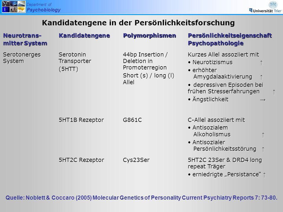 Department of Psychobiology Neurotrans- mitter System KandidatengenePolymorphismenPersönlichkeitseigenschaftPsychopathologie Serotonerges System Serot