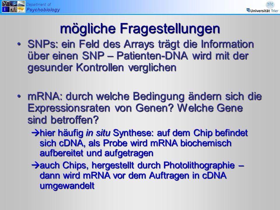 Department of Psychobiology mögliche Fragestellungen SNPs: ein Feld des Arrays trägt die Information über einen SNP – Patienten-DNA wird mit der gesun