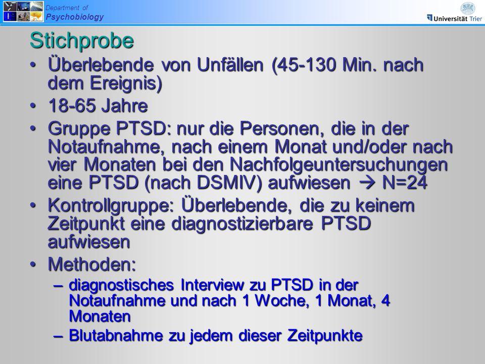 Department of Psychobiology Stichprobe Überlebende von Unfällen (45-130 Min. nach dem Ereignis)Überlebende von Unfällen (45-130 Min. nach dem Ereignis