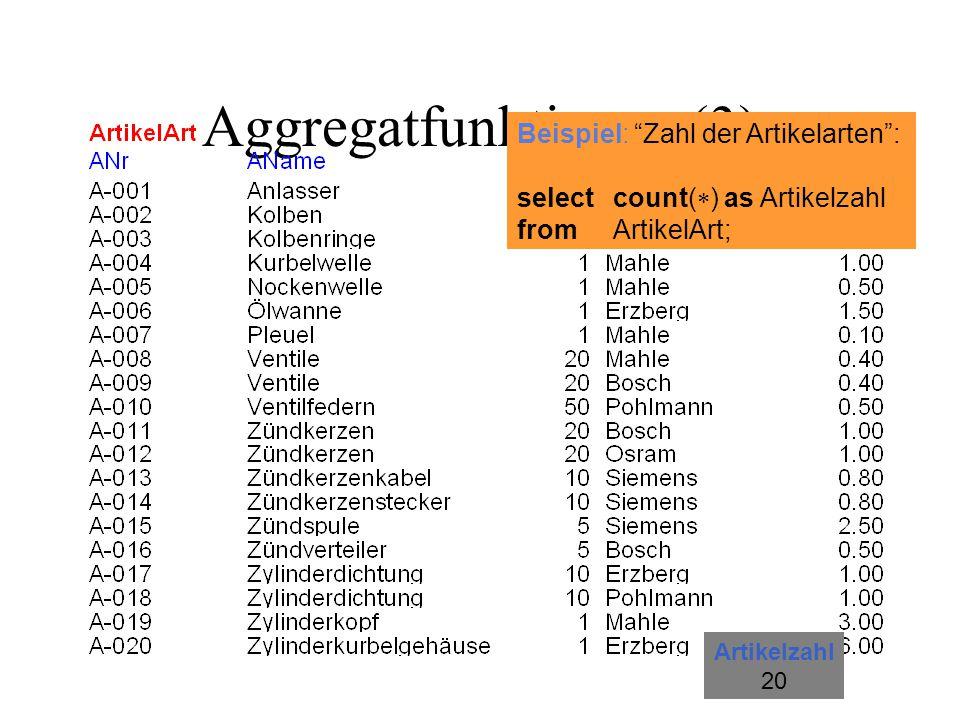 "Aggregatfunktionen (3) Beispiel: ""Zahl der Artikelarten"": selectcount(  ) as Artikelzahl fromArtikelArt; Artikelzahl 20"