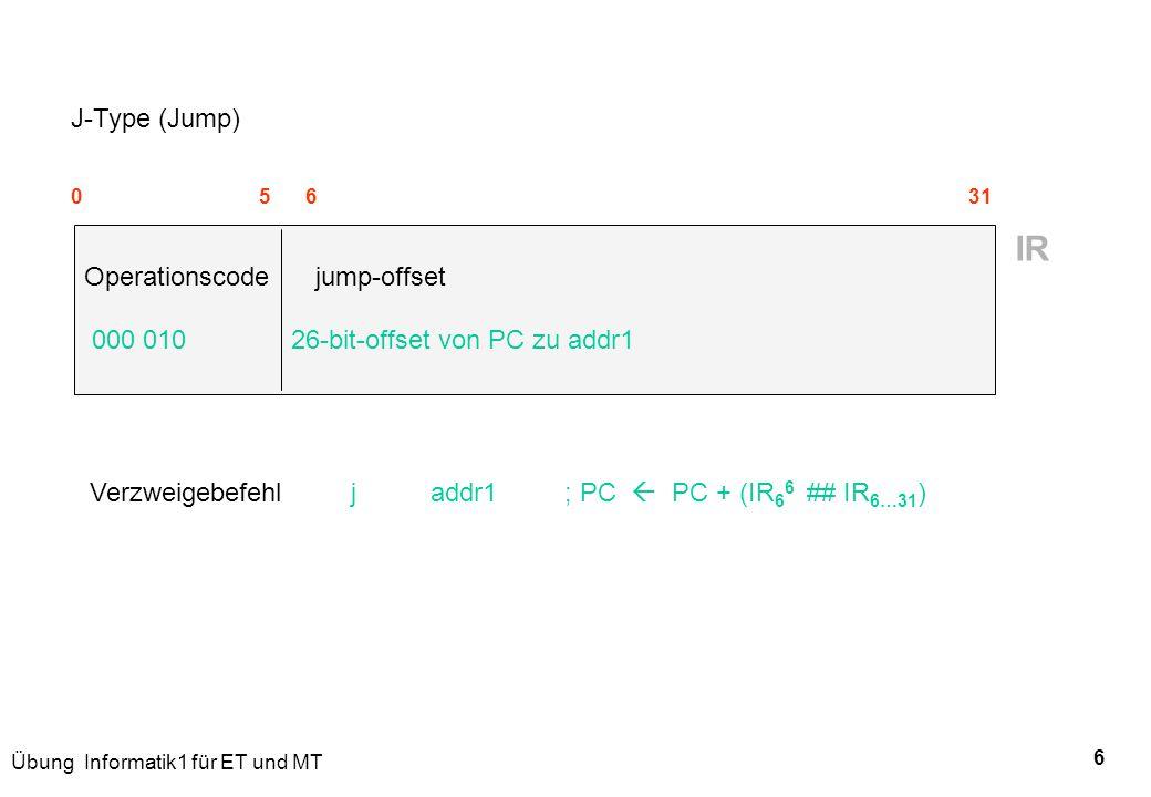 Übung Informatik1 für ET und MT 6 J-Type (Jump) 0 5 6 31 Operationscode jump-offset 000 010 26-bit-offset von PC zu addr1 IR Verzweigebefehl j addr1 ;