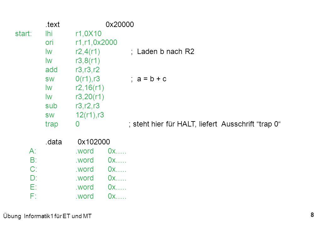 Übung Informatik1 für ET und MT 8.text0x20000 start:lhir1,0X10 ori r1,r1,0x2000 lwr2,4(r1) ; Laden b nach R2 lw r3,8(r1) addr3,r3,r2 sw 0(r1),r3 ; a =