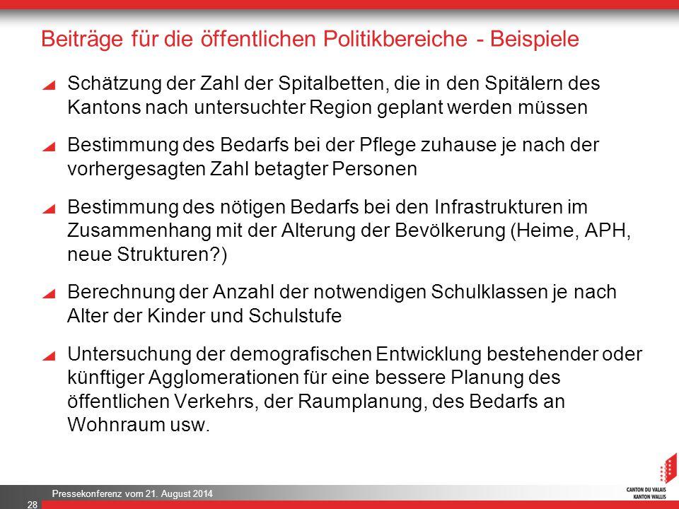 Pressekonferenz vom 21. August 2014 Beiträge für die öffentlichen Politikbereiche - Beispiele Schätzung der Zahl der Spitalbetten, die in den Spitäler