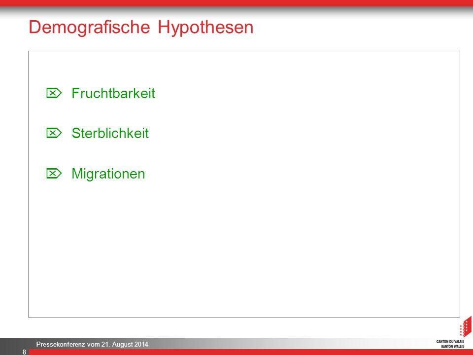 Pressekonferenz vom 21. August 2014 Demografische Hypothesen 8  Fruchtbarkeit  Sterblichkeit  Migrationen