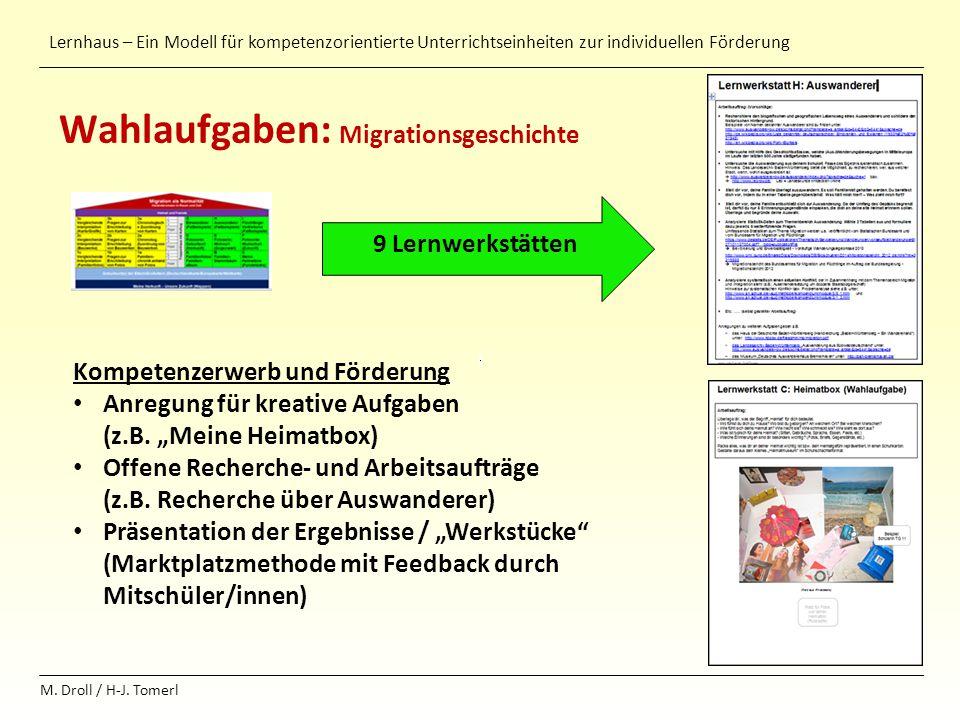 Lernhaus – Ein Modell für kompetenzorientierte Unterrichtseinheiten zur individuellen Förderung M. Droll / H-J. Tomerl Wahlaufgaben: Migrationsgeschic