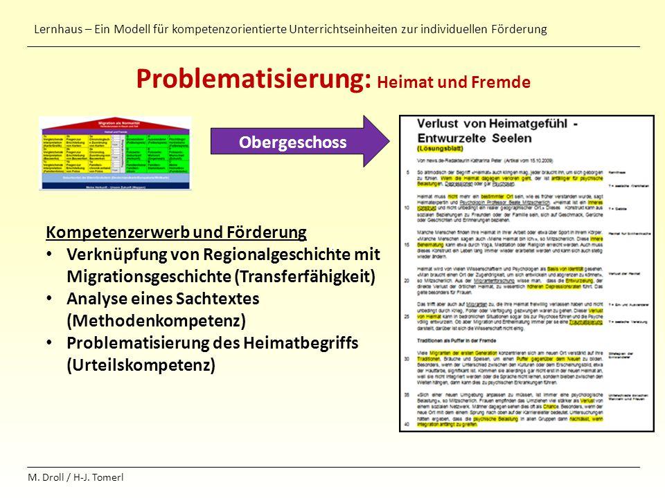 Lernhaus – Ein Modell für kompetenzorientierte Unterrichtseinheiten zur individuellen Förderung M. Droll / H-J. Tomerl Problematisierung: Heimat und F