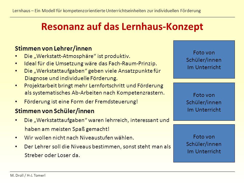 Lernhaus – Ein Modell für kompetenzorientierte Unterrichtseinheiten zur individuellen Förderung M. Droll / H-J. Tomerl Resonanz auf das Lernhaus-Konze