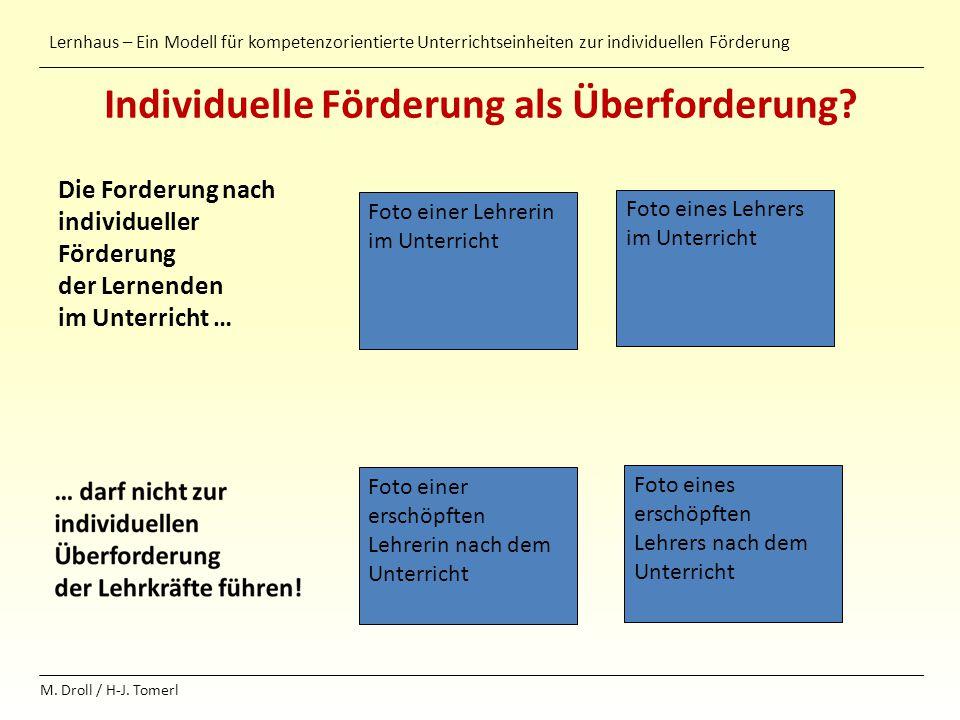 Lernhaus – Ein Modell für kompetenzorientierte Unterrichtseinheiten zur individuellen Förderung M. Droll / H-J. Tomerl Individuelle Förderung als Über