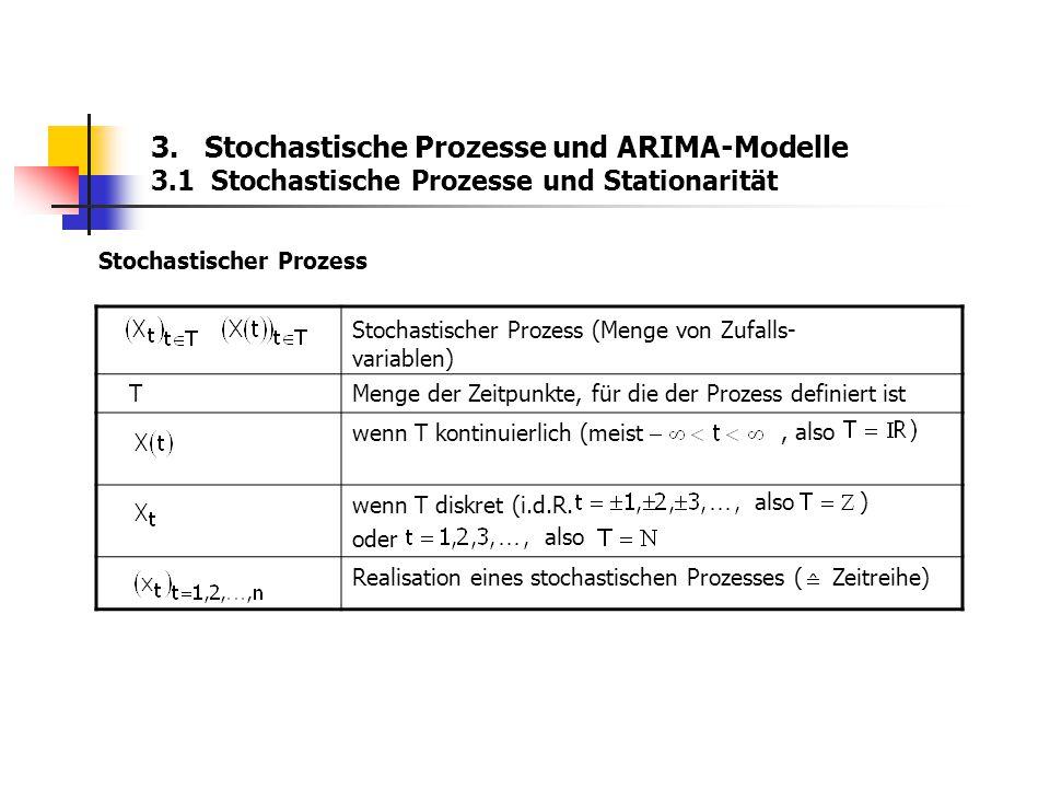 3. Stochastische Prozesse und ARIMA-Modelle 3.1 Stochastische Prozesse und Stationarität Stochastischer Prozess TMenge der Zeitpunkte, für die der Pro