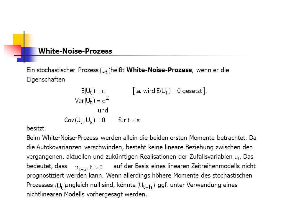 White-Noise-Prozess Ein stochastischer Prozess heißt White-Noise-Prozess, wenn er die Eigenschaften besitzt. Beim White-Noise-Prozess werden allein di