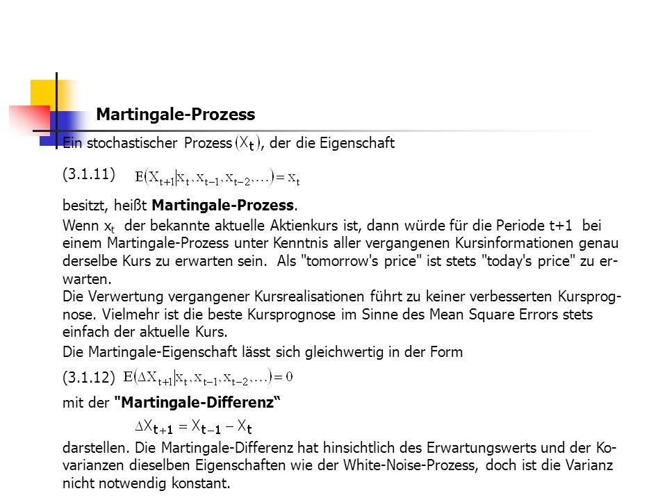 Martingale-Prozess Ein stochastischer Prozess, der die Eigenschaft (3.1.11) besitzt, heißt Martingale-Prozess. Wenn x t der bekannte aktuelle Aktienku