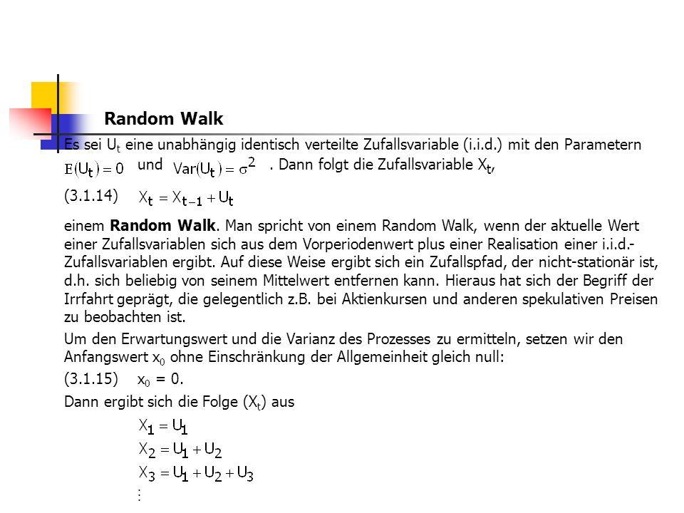 Es sei U t eine unabhängig identisch verteilte Zufallsvariable (i.i.d.) mit den Parametern und. Dann folgt die Zufallsvariable X t, (3.1.14) einem Ran