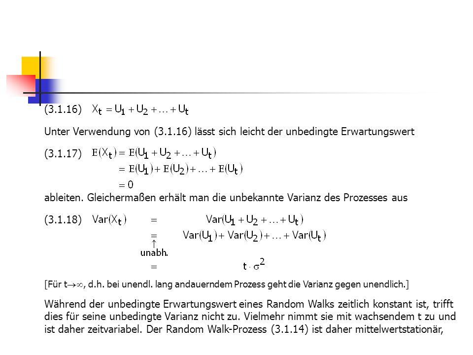 (3.1.16) Unter Verwendung von (3.1.16) lässt sich leicht der unbedingte Erwartungswert (3.1.17) ableiten. Gleichermaßen erhält man die unbekannte Vari