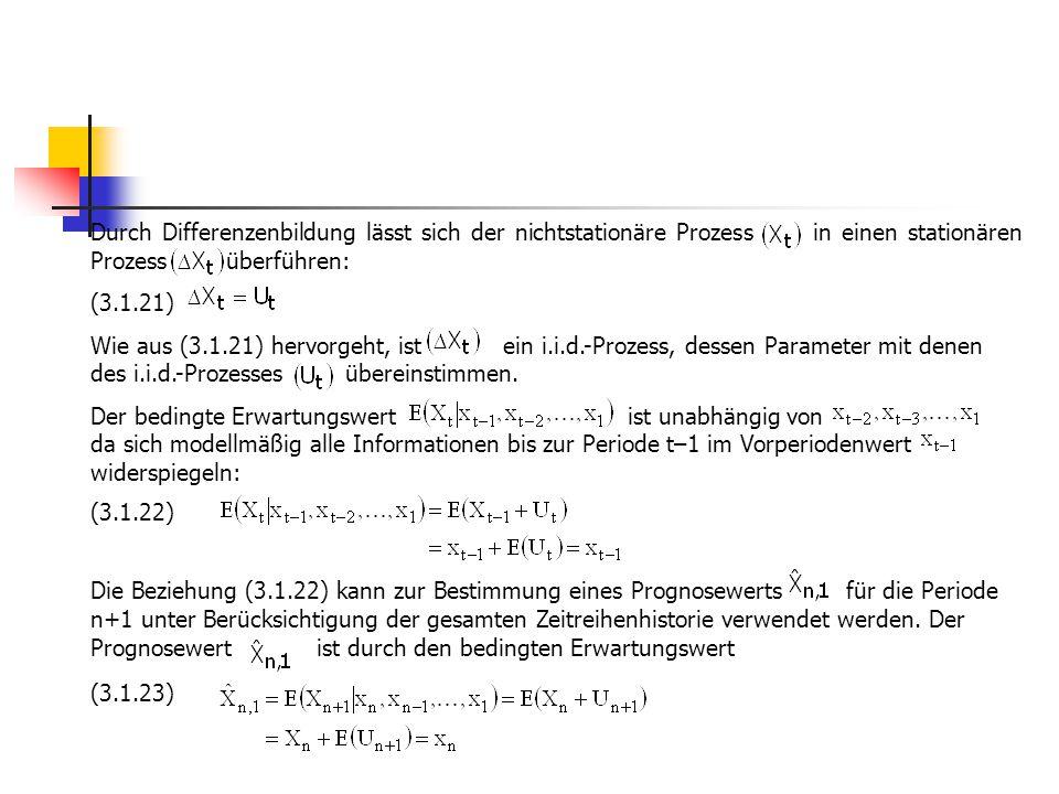 Durch Differenzenbildung lässt sich der nichtstationäre Prozess in einen stationären Prozess überführen: (3.1.21) Wie aus (3.1.21) hervorgeht, ist ein