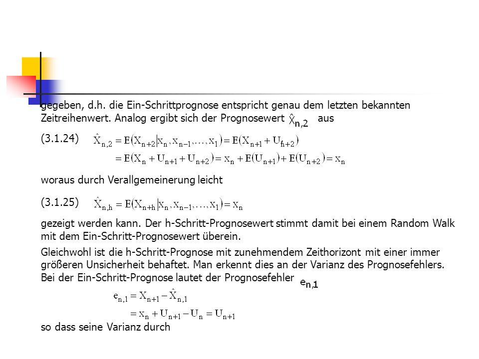gegeben, d.h. die Ein-Schrittprognose entspricht genau dem letzten bekannten Zeitreihenwert. Analog ergibt sich der Prognosewert aus (3.1.24), woraus