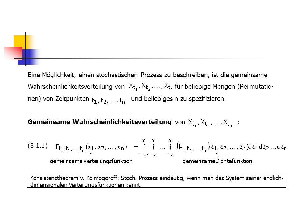 Momente eines stochastischen Prozesses (Momente erster und zweiter Ordnung): Mittelwertfunktion  t : (-folge) (3.1.2) Varianzfunktion : (-folge) (3.1.3) Autokovarianzfunktion : (ACVF)(-folge) (3.1.4) Für die Autokorrelationsfunktion (ACF) folgt dann (-folge) (3.1.5) In der Praxis ist dieser Weg i.d.R.